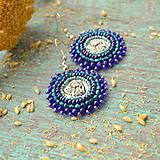 Náušnice - Blue Angels - vyšívané náušnice - 9399511_