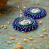 Náušnice - Blue Angels - vyšívané náušnice - 9399513_