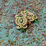 Náušnice - Golden Vitrail - sutaškové náušnice - 9399575_