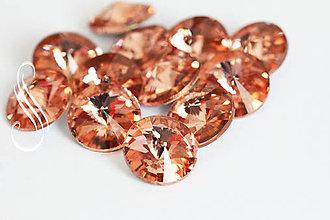 Komponenty - kabošon sklenený rivoli 12mm/1ks (Oranžová) - 9399692_