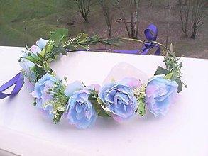 """Ozdoby do vlasov - Kvetinový venček do vlasov """"... belasé nebo ..."""" - 9398255_"""