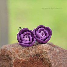Náušnice - Fialové kvety - zatvárateľné náušnice - 9398686_