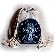 Batohy - Mini batoh modrotlač (Batôžtek modrotlač Bábika) - 9400807_