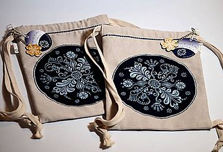 Batohy - Mini batoh modrotlač (Batôžtek modrotlač Folk) - 9400816_