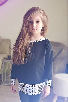 Detské oblečenie - Jarná rastúca mikina (Čierno-biela) - 9397332_