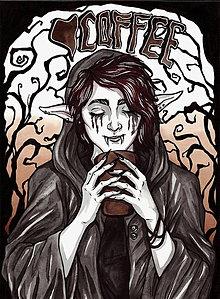 Obrazy - Troll Coffee Time - Ilustrácia - akvarel a tuš, originál - 9397758_