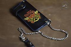 Peňaženky - Kožená peňaženka biker - zdobená na zákazku - 9397349_