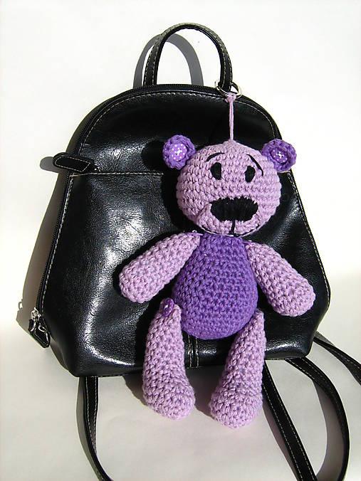 Medvedík na kabelku fialový