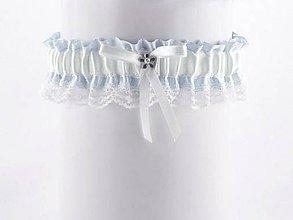 Bielizeň/Plavky - Podväzok modrý saténový s čipkou pre nevestu B1 (Šedá) - 9399312_