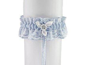 Bielizeň/Plavky - Saténový modrý podväzok pre nevestu T1 (Šedá) - 9399502_