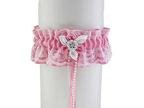 Bielizeň/Plavky - Saténový růžový podväzok pre nevestu R1 (Bordová) - 9399538_