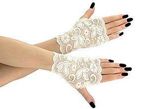 Rukavice - Svadobné rukavice čipkové ivory pre nevestu 01 - 9400418_