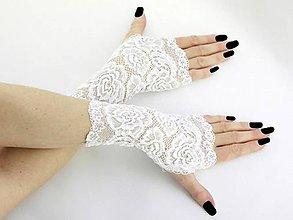 Rukavice - Svadobné čipkové rukavice bielé T1 - 9400485_