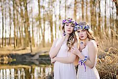 Sady šperkov - Fialovo modrý set (venček, náramok a prsteň) - 9399006_