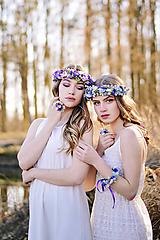 Sady šperkov - Fialovo modrý set (venček, náramok a prsteň) - 9399007_