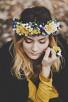 Sady šperkov - Fialovo žltý kvetinový set (náramok, prsteň, venček) - 9398824_
