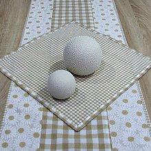 Úžitkový textil - Béžové káro malé a veľké - obrus štvorec 40x40 - 9397395_