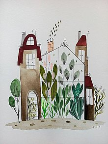 Obrazy - Skleník dom ilustrácia  / originál maľba - 9401204_