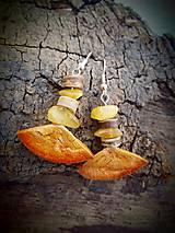 Náušnice - náušnice Baltský maslový jantár + kokosové korálky - 9401132_