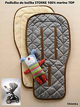 100% MERINO wool Podložka do kočíka Stokke/ Bugaboo / Joolz / Valco / Petite and Mars / Britax / Peg Perego grey