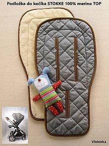 Textil - 100% MERINO wool Podložka do kočíka Stokke/ Bugaboo / Joolz / Valco / Petite and Mars / Britax / Peg Perego grey - 9401381_