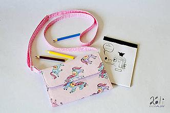Detské tašky - Detská kabelka - pastelkovníčka Jednorožce (vrátane vnútorného vybavenia) - 9403971_