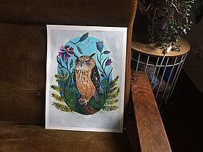 Kresby - Print z ríše naších obyvateľov lesa (Výr skalný) - 9402223_