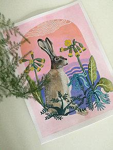 Kresby - Print z ríše naších obyvateľov lesa (Zajac poľný) - 9402233_