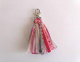 Kľúčenky - Ružový stuhový strapec - 9403444_
