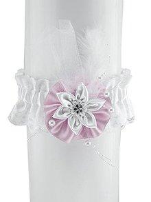 Bielizeň/Plavky - svadobný podväzok saténový růžovo bielá H7 (Bordová) - 9400923_