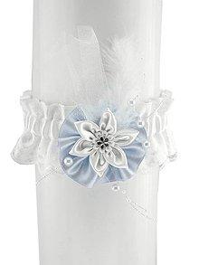 Bielizeň/Plavky - Svadobný podväzok saténový modro bielý H7 (Bordová) - 9400926_
