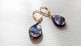 Náušnice - Paua mušľa (Abalone) a pozlátené striebro - 9402381_