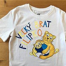"""Detské oblečenie - Maľované súrodenecké ... s mačiatkami (Tričko s nápisom """"Malý/Veľký brat (meno)"""") - 9402214_"""