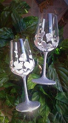Darčeky pre svadobčanov - Svadobné pohare Heard white silver - 9403602_