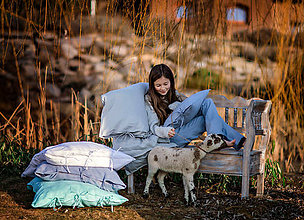 Úžitkový textil - Ľanové posteľné obliečky Beauty in Simplicity (spring collection) (Tyrkysová) - 9403987_