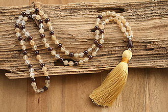 Náhrdelníky - Mala náhrdelník citrín a granát - 9406529_