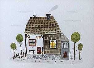 Obrazy - Chalúpka ilustrácia  / originál maľba  - 9406850_