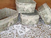 - Košíky - Miničipkované v béžovom (27,0x16,0 x 9) - 9405536_