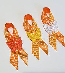 Pierka - pierka oranžové s motýlikom - 9406802_