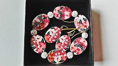 Sady šperkov - perleť - sada náramok a náušnice ,,červené papradie