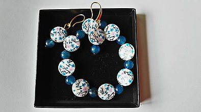 Sady šperkov - náramok a náušnice z perlete ,,nezábudky