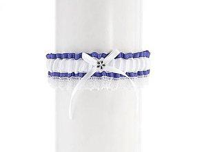 Bielizeň/Plavky - Podväzok modrý saténový s čipkou pre nevestu 07C (Bordová) - 9404522_