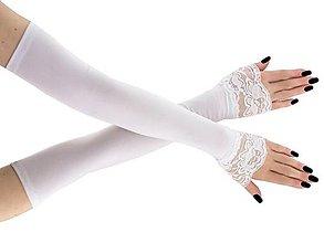 Rukavice - Svadobné rukavičky pre nevestu bielé 01S - 9404524_