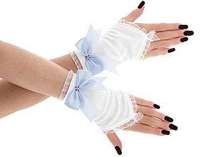 Rukavice - Dámské svadobné biele rukavice, spoločenské rukavičky 07D (Červená) - 9408169_