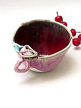 Nádoby - šálka , červeno ružova s ružou - 9406232_