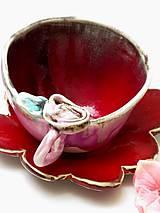 Nádoby - Šálka s ružou a tanierikom - 9406275_