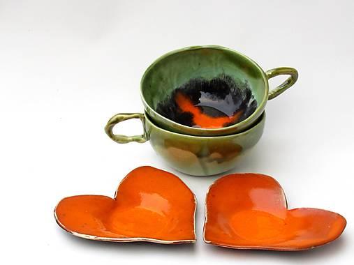 tanierik, podšálka srdce oranžový