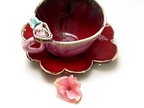 Nádoby - Šálka s ružou a tanierikom - 9406273_