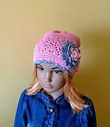 Detské čiapky - Ruzovo seda bavlnena prechodna ciapka - 9407715_