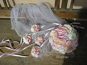 Kytice pre nevestu - svadobná sada :nežná pudrová.... - 9407784_